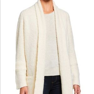 Vince - White textured shawl-collared cardigan